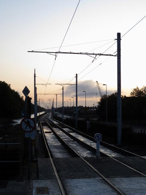 Luas tram lines at Blackhorse