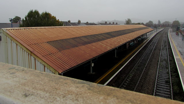 Two-tone railway station canopy roof, platform 2, Caerphilly