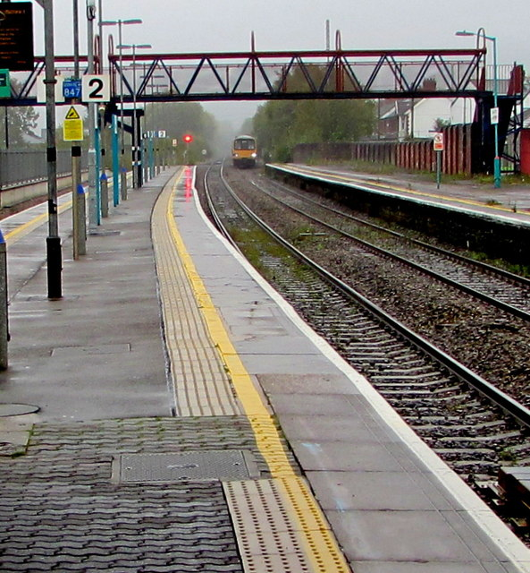 Train approaching Caerphilly station from the east