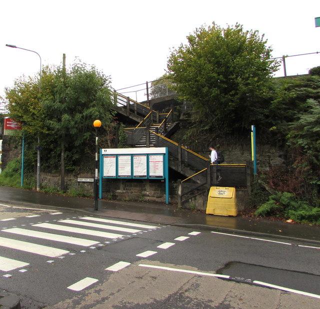 Zigzag steps up to Heath High Level railway station, Cardiff
