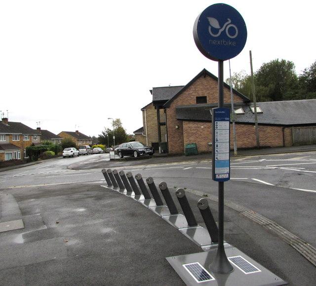 Nextbike hire station on a Heath corner, Cardiff