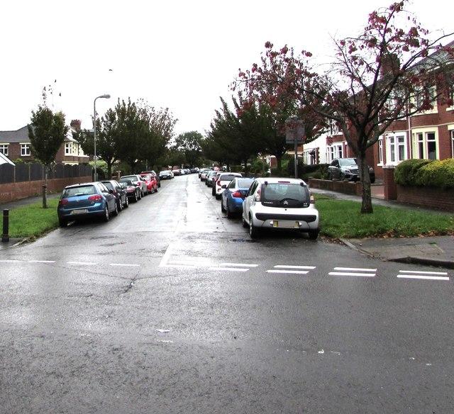 Car-lined and tree-lined Beatty Avenue, Heath, Cardiff