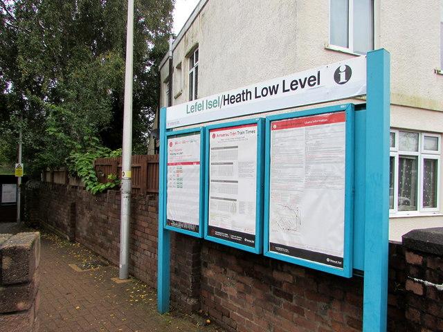 Heath Low Level railway station information boards, Cardiff