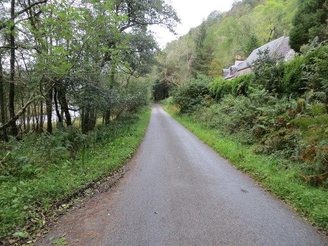 Road beside River Creran near to Glasdrum