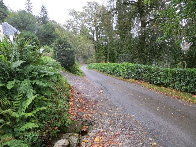 Minor road beside Loch Baile Mhic Chailein at Fasnacloich