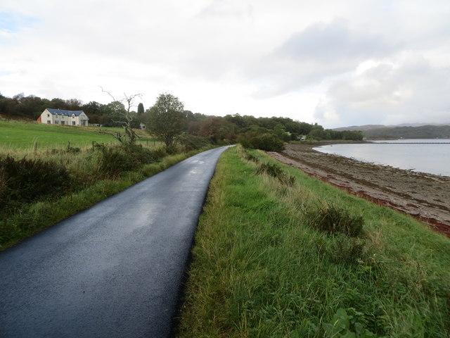 Road beside Loch Creran at Seabank