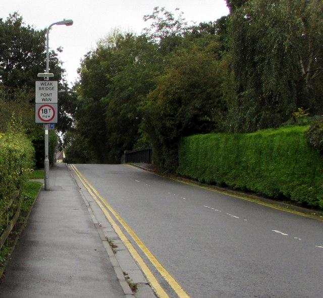 Weak Bridge/Pont Wan sign, Heath Halt Road, Cardiff