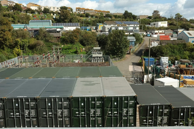 Containers and electricity distribution site, Teignmouth
