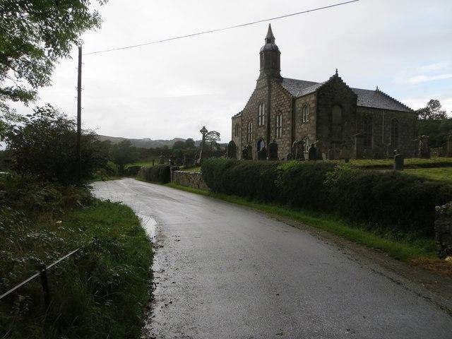 Minor road beside Loch Etive passing Ardchattan Parish Kirk
