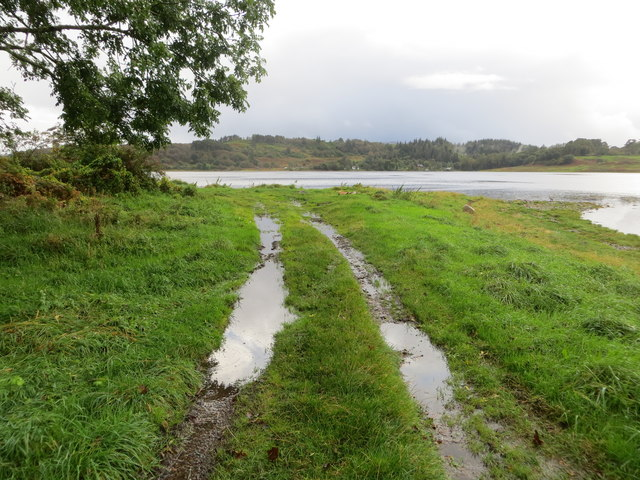 Grass track to the shore of Loch Etive at Rubha Charsalich