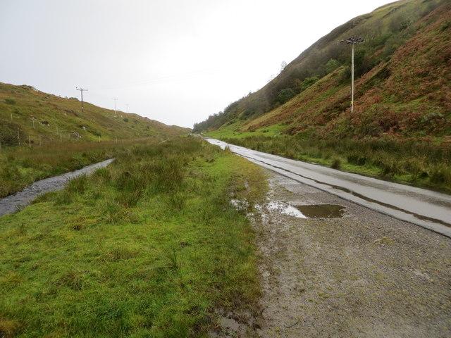 Road (B845) beside a tributary of Dearg Abhainn in Gleann Salach