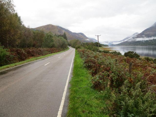 Road (B863) beside Loch Leven