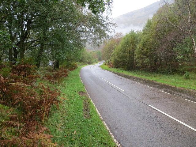 Road (B863) beside Loch Leven at Rubha Cladaich