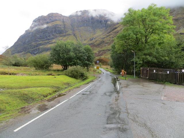 Minor road at Clachaig Inn in Glen Coe
