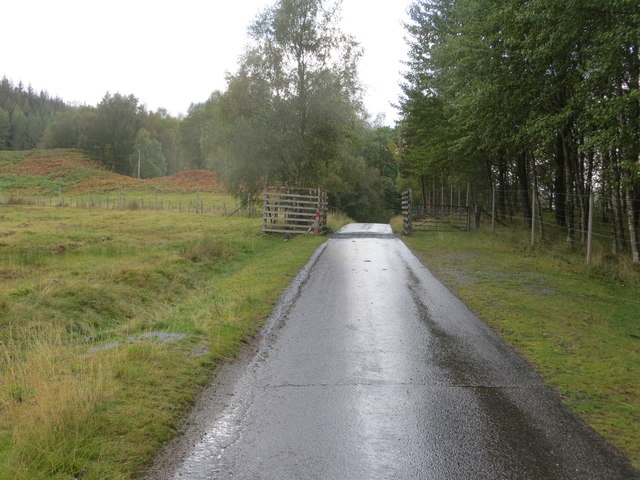 Minor road with Cattle Grid near to Inverlair