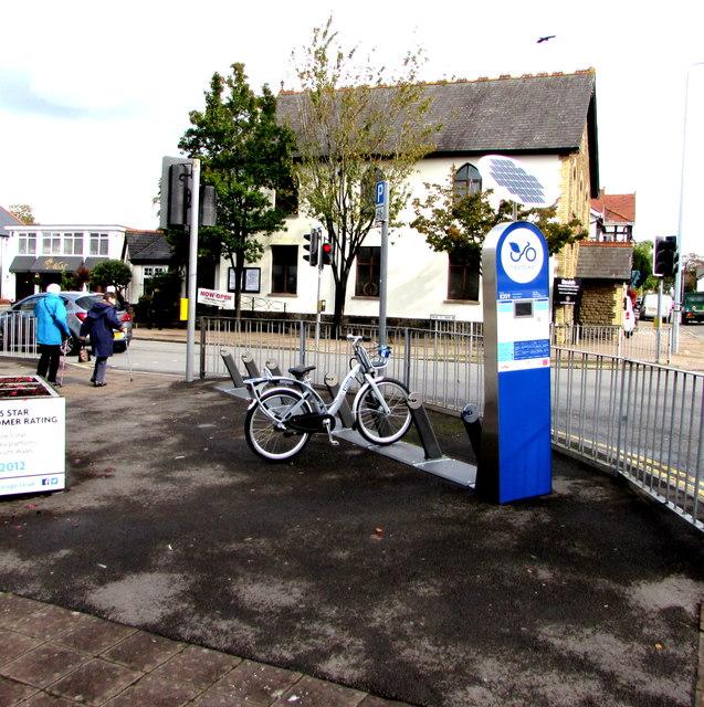 Bicycle hire station on a Rhiwbina corner, Cardiff