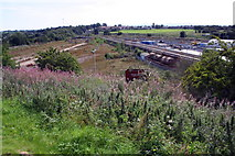 NY4154 : View from Gallows Hill over Upperby depot towards West Coast Main Line railway by Roger Templeman