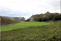 SS7049 : Lynton Cricket Ground: the view from the east stand by Martin Tester