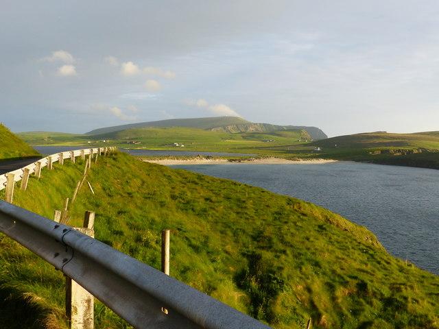 Roadside view across the Bay of Scousburgh near Seli Stack
