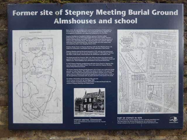 Information board at Stepney Meeting Burial Ground, White Horse Road