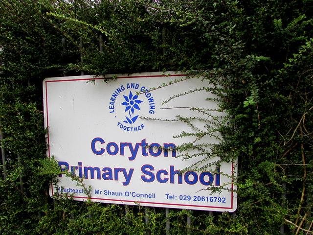 Coryton Primary School name sign, Cardiff