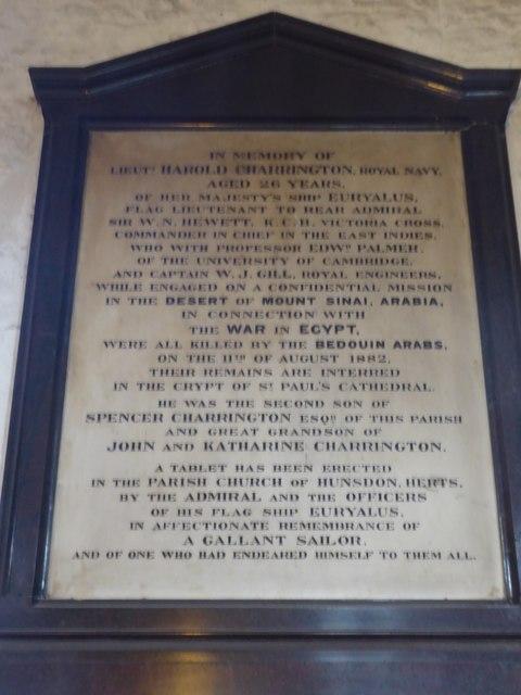 Memorial in St Dunstan's Church, Stepney