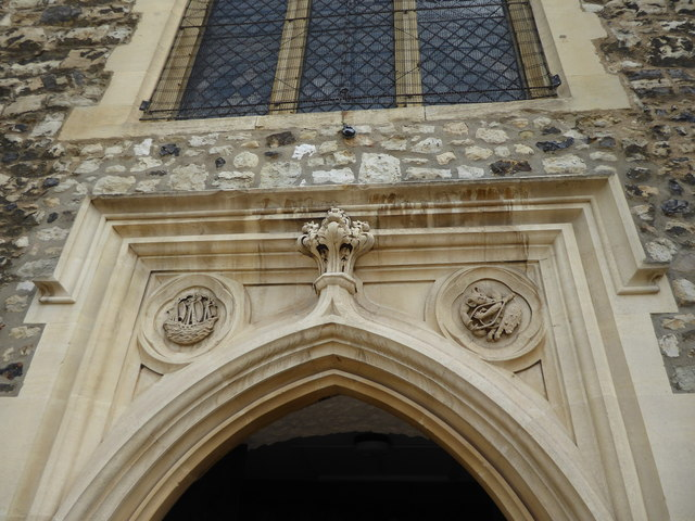 Carvings over the entrance to St Dunstan's Church, Stepney