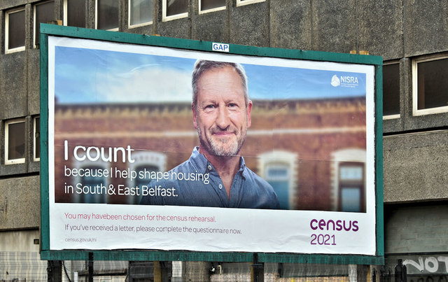 2021 Census rehearsal poster, Belfast (October 2019)