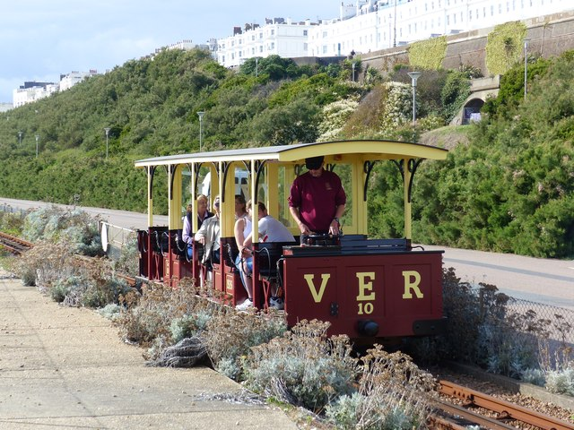 The Volks electric Railway train approaches Black Rock Station, Brighton