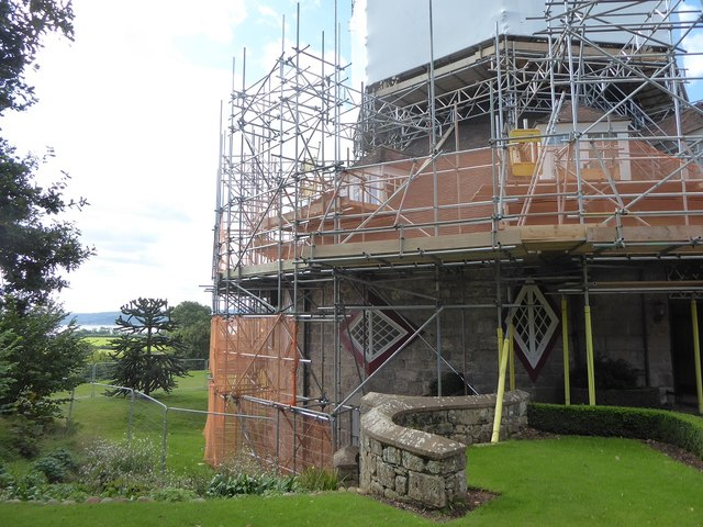 A-la-Ronde house swathed in scaffolding for roof repairs