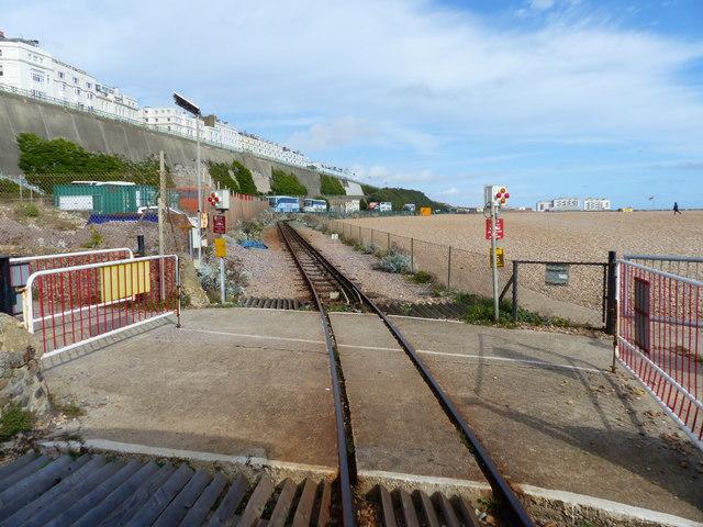 Level crossing at Banjo Groyne, Volks Electric Railway, Brighton
