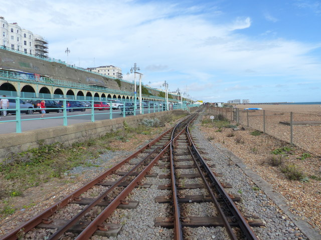 Points at a passing place, Volks Electric Railway, Brighton