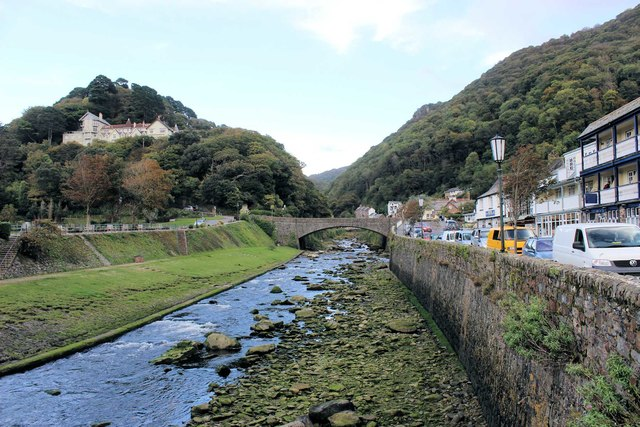 Lynmouth: the East Lyn River from the footbridge