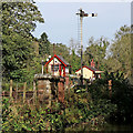 SK0048 : Semaphore signals and signal box, Consall, Staffordshire by Roger  Kidd