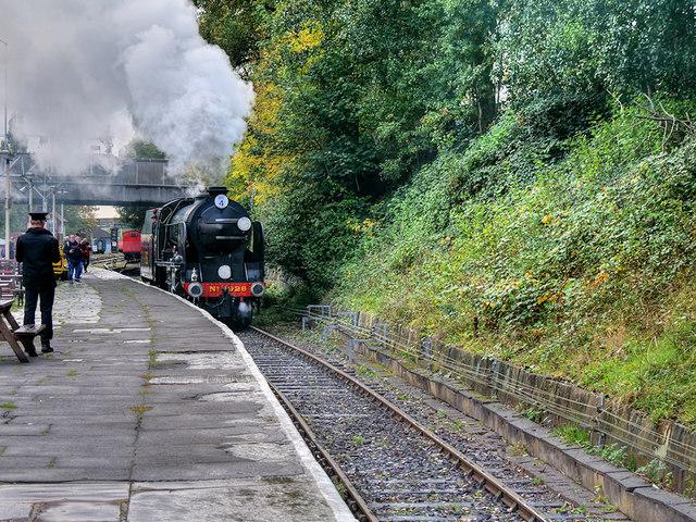 Steam Locomotive Repton Arriving at Bury