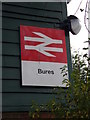 TL9033 : Bures Railway Station sign by Adrian Cable