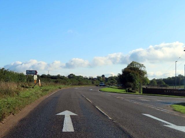 The B4031 passes RAF Croughton