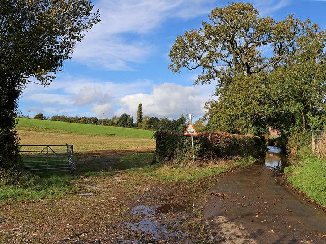 Farmland and ford near Great Moor, Staffordshire
