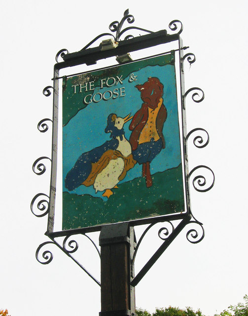 The Fox & Goose (b) - sign, Farmers Way, Westlands, Droitwich Spa, Worcs