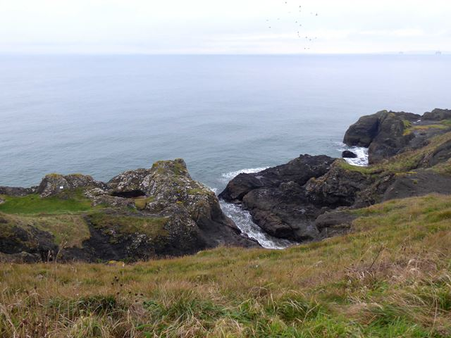 Rocky coastline west of Kincraig Point