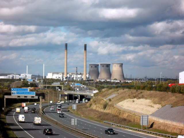 A1M  motorway and derelict power station