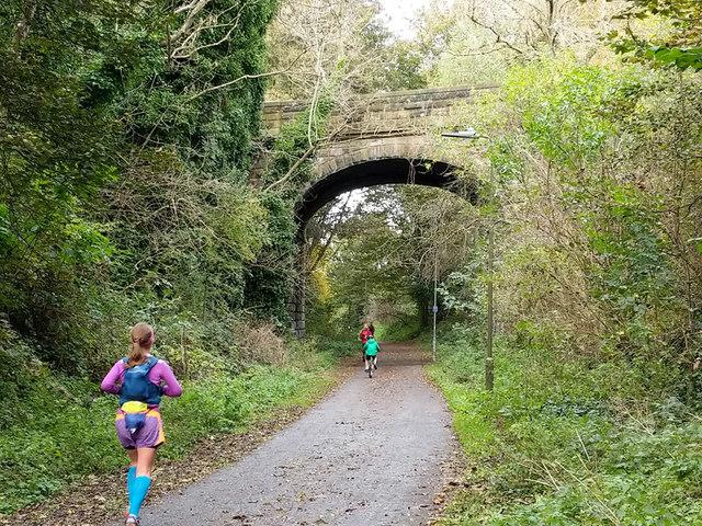 Bridge over former railway, now Roseburn Path