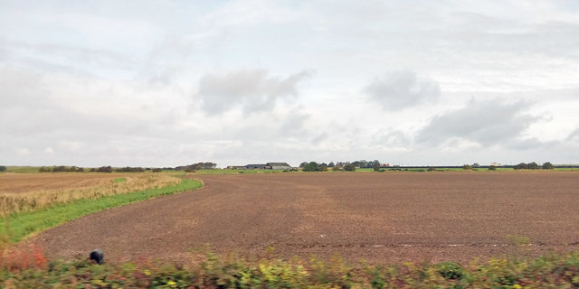 View over ploughed field towards Goswick