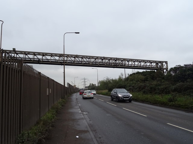 Bridge over Rover Way beside Celsa Steel and Wire Works by JThomas