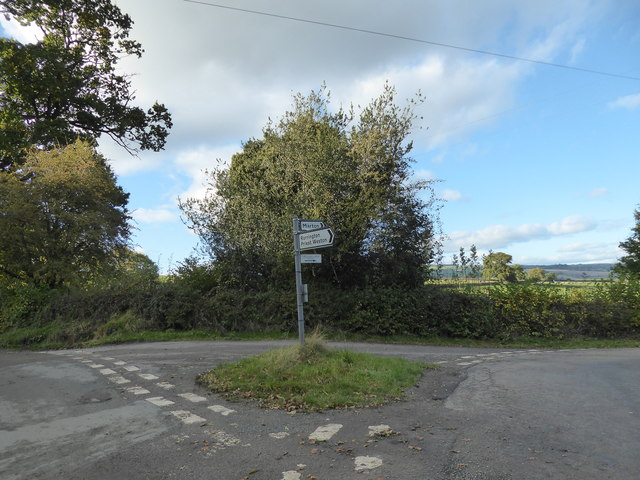 Road junction west of Rorrington, Shropshire