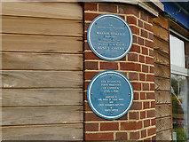 SX9364 : Blue plaques outside Kents Cavern by Stephen Craven