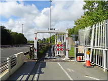 ST5491 : Gate on the Cycleway and footpath, Severn Road Bridge  by JThomas