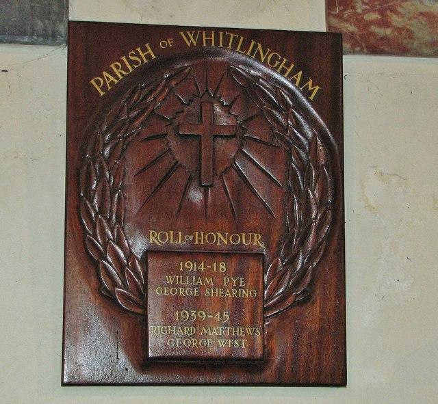 Parish of Whitlingham Roll of Honour