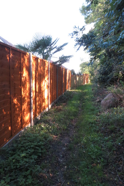 Bridleway by back garden fences