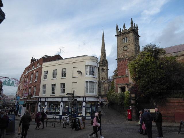 Scene in Shrewsbury town centre in November